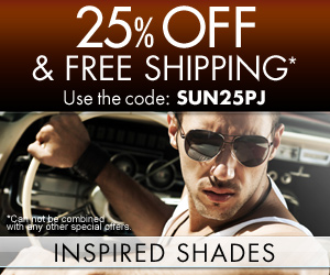 Get 25% OFF + Free Shipping from Inspired Shades!