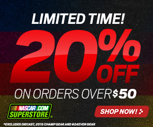 Save 25% on orders over $50 at Store.NASCAR.com