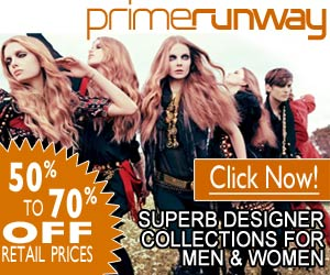 Designer Clothing at 50-70% OFF retail from PrimeRunway.com