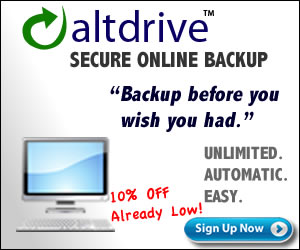 AltDrive Online Backup 10% Off - Low!
