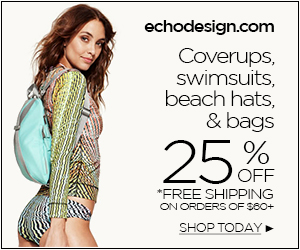 300x250 echodesign.com sale 25% off* swim and beach
