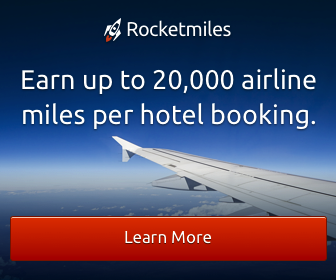 Earn up to 20,000 airline miles per hotel booking with Rocketmiles.