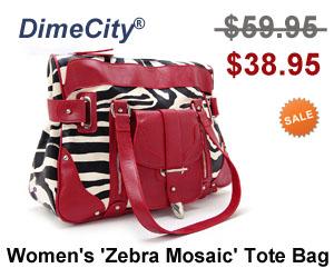DimeCity Women's 'Zebra Mosaic' Tote Handbag