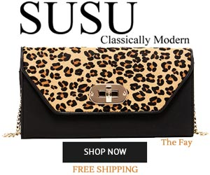 Faye - Animal Print Black Leather Envelope Clutch