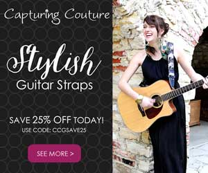 CCGSAVE25 Saves you 25% on all NEW SCARF Guitar Straps!