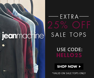 Extra 25% off Sale Tops at Jean Machine! Use promo code HELLO25