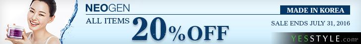 The Jesselton Girl Deals: NEOGEN 20%off + Beauty Sale @ YesStyle