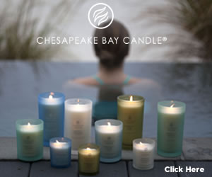 Lady in pool with Mind & Body Candles by Chesapeake Bay Candle Online Boutique