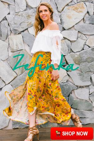 Boho Style Floral Print Long Skirt