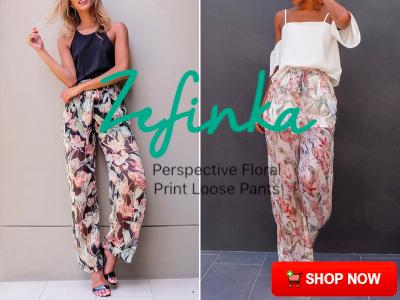 Perspective Floral Print Loose Pants