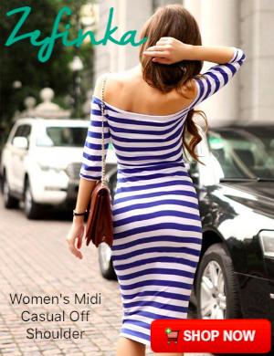 Women's Midi Casual Off The Shoulder Bodycon Pencil Dress