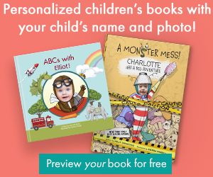 Personalized book covers of ABCs with Me! and A Monster Mess!