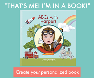 Book cover of a personalized alphabet book using your child's name and photo