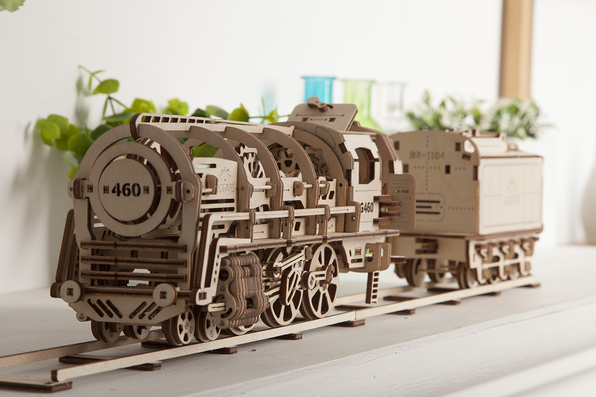 UGears Wooden Mechanical Model Kit Locomotive with Tender