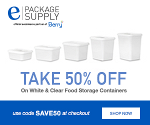 Save50 for 50% Off White and Clear Food Storage Containers