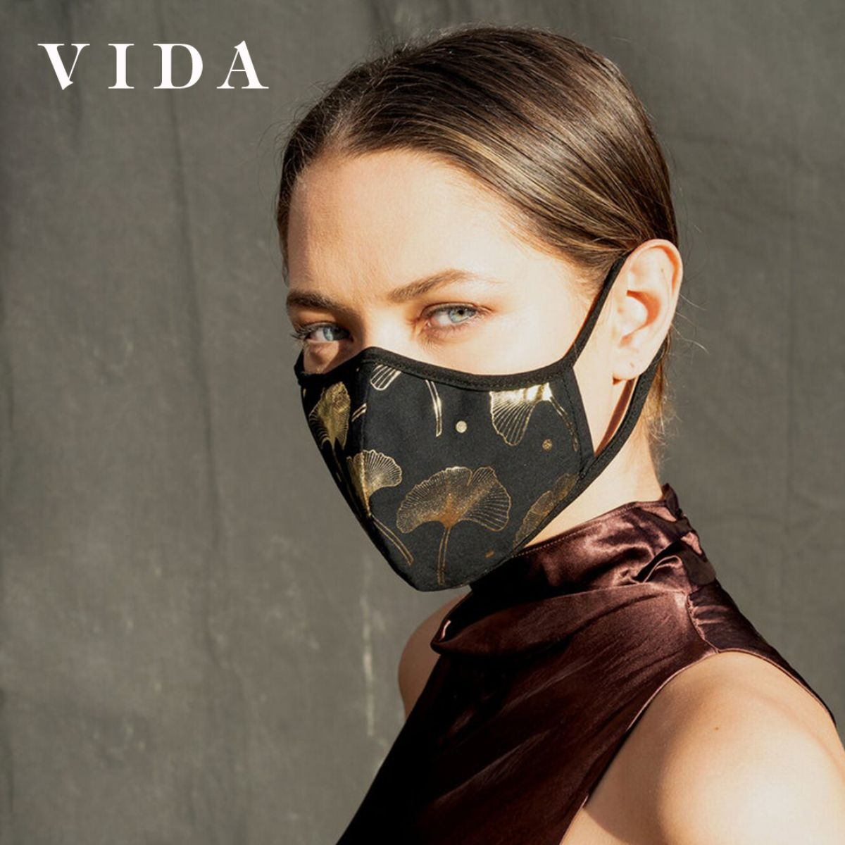 VIDA Holiday Mask in Gold & Silver Foil Print